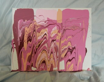Pink in the Desert Acrylic Dripped Painting