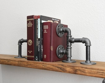 Bookends - Industrial iron pipe bookend - Steampunk bookends - Modern bookends - Urban Metal Bookend