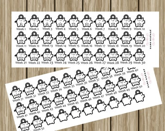 planner stickers - 52 week money saving stickers - biweekly money saving stickers