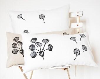 "Handprinted Pillowcase - Made in France - White Linen - ""Dandelions"" pattern - 12""x20"""