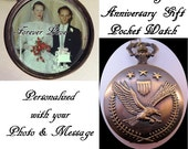 """Wedding Anniversary Gift Eagle with Stars Pocket Watch Personalized Photo & Message w/31"""" Chain OR 14"""" Belt Chain Army Vintage Style"""