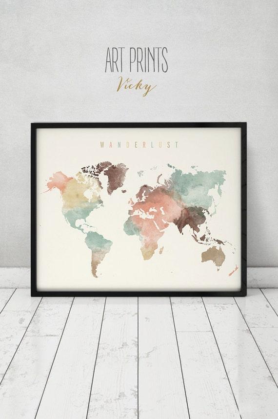 wanderlust world map watercolor print world map by. Black Bedroom Furniture Sets. Home Design Ideas