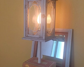 Large antique book lamp with lantern