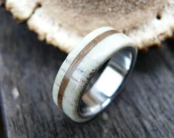 Stainless Steel Ring with Deer Antler and Walnut Wood, Deer Antler Ring, Bone Ring, with Engraving