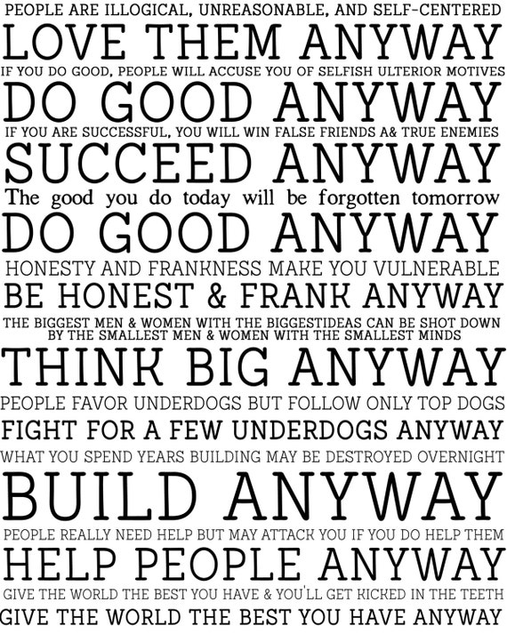 Crush image in mother teresa do it anyway free printable