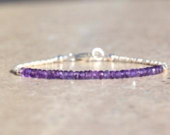 Amethyst Birthstone Bracelet, Amethyst Bracelet, February Birthstone, Karen Hill Tribe Silver, Gemstone Bracelet, Valentine Gift For Her