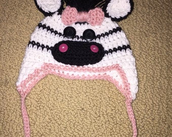 Zebra Hat with Pink Bow (Infant to Adult)