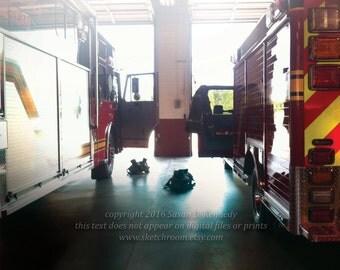 "Digital Printable fine Art Photograph ""Ready"" Firefighting Art firefighter print Fire Trucks"