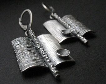 Wishes in bowls - silver earrings, handmade unique jewellery