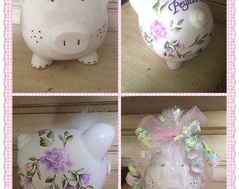 Piggy Bank Hand Painted & Personalized