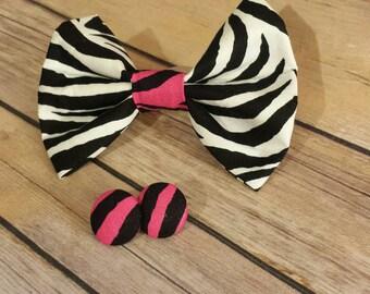 Bow Hair - Fabric Jewelry - Zebra Print Bow - Handmade Hair Accessories - Homemade Hair Bows - Animal Print Bow - Pink Zebra Bow - Handmade