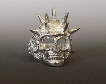 Spike Skull Ring, SPIKE Sterling Silver Gothic Spike Helmet and Skull Ring by JunoBone