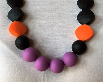 Halloween Silicone Teething Necklace, Silicone necklace, Nursing, baby Chew Beads , baby shower gift, new mom, necklaces, teething