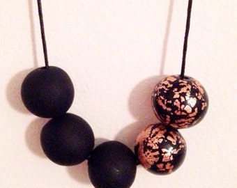 "Polymer Clay Necklace - ""Black & Copper"""