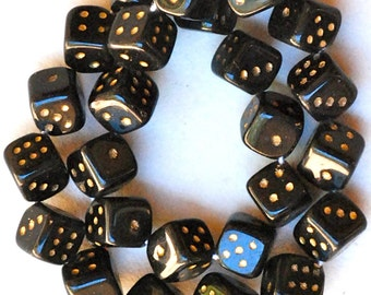 Czech Glass Dice Beads - 10mm Cube Dice Beads - Black or White - Qty 25