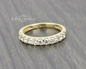 1.00 CT pave set Wedding Engagement Band Ring Solid Real 14k or 18k Yellow Gold ,Amorphous Lab Created Diamond Bridal Band ,Anniversary Band