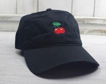 Cherries Emoji Dad Hat Embroidered Baseball Cap Curved Bill  100% Cotton Wild Cherry