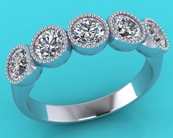 Platinum diamond 5 stone  eternity  ring / wedding band / wedding  ring / engagement ring / round  diamond  ring / anniversary ring
