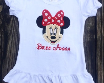 Full face Minnie Mouse applique shirt