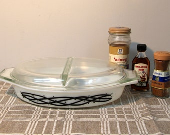 Vintage PYREX Barbed Wire Casserole Dish, Pyrex Promotional Divided Covered Casserole Set, Baking Dish with Lid, Made in USA, Heat and Serve
