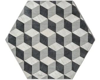 4 Grey Placemats Geometric Place Mats Hexagon Tablemats Retro Tablemat Retro Placemat wedding gift Vintage Placemats ArtDeco Place Mats