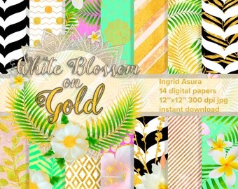 White Gold Digital Papers Pack Spring Summer Background Scrapbook Seamless Patterns Multicolor Handpainted