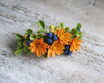 Orange blue flower hair clip Flower barrette Floral hair clip Floral barrette Hair Flower clip Flower hair accessory Nature hair clip Clay