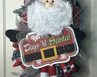 REDUCED!!! Christmas Count Down with Santa Door Swag