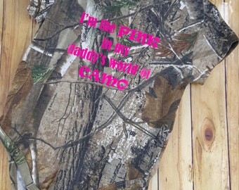I'm the PINK in my daddy's world of CAMO- Realtree Camo Onesie