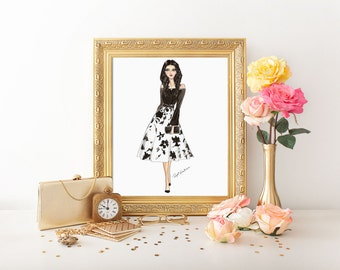 "Fashion illustration ""Black and white"" printable illustration, digital fashion illustration, printable art, fashion clipart, comercial use"