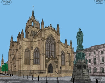 St Giles' Cathedral Edinburgh Mounted Print