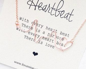 Heartbeat Necklace, rose gold heartbeat necklace, heart pulse necklace, heart line necklace, EKG, ECG necklace, nurse gift, inspirational