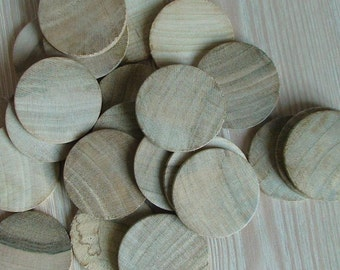 40 Unfinished Wood Discs Coins Circles - 4cm Diameter Unfinished Wooden Circle Cutouts(set of 40) Unfinished Wood Coins Unfinished Wood Disc