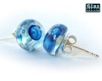 BLUE stud earring + silver