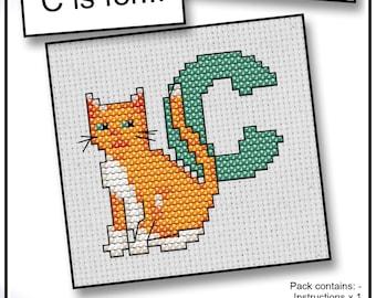 C is For... Cat Mini Alphabet Cross Stitch Kit with DMC Thread, 5x5 cm