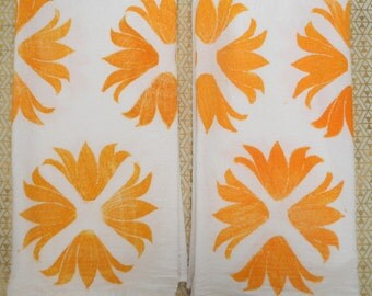 Block Printed Tea Towels, Set of 2
