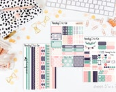 Navy Blooms HORIZONTAL Weekly Kit // 130+ Matte Planner Stickers // Perfect for your Erin Condren Life Planner // WKH0090