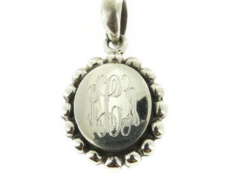 925 Sterling Silver Oval Beaded Edge Monogram Personalized Pendant, Add a Box Chain to make it a Necklace