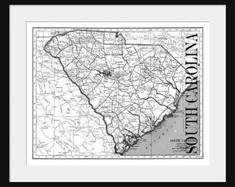 South Carolina Map - Map of South Carolina - Poster - Print