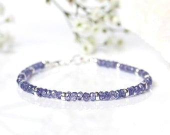 Beaded Tanzanite Bracelet, 925 Sterling Silver Stacking Bracelet, Genuine Blue Tanzanite Jewelry, December Birthstone,Delicate Thin Bracelet
