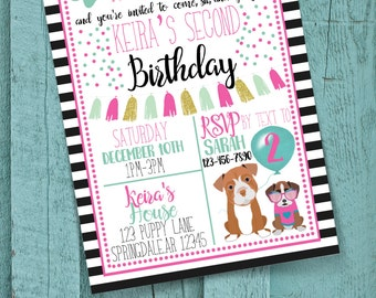 Puppy Party Birthday Invitation | Dog Party | Customization | Choose your own colors! | Dog adoption party