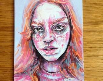 Lilac Girl Portrait Limited Art Print Size A5 (148mm x 210mm)
