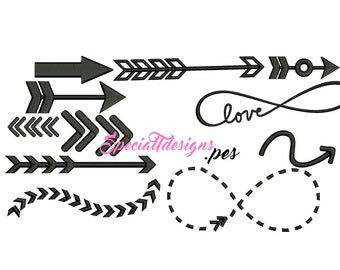 11 Preppy Arrow Arrows .pes file Embroidery symbols - Digital Embroidery File - Machine - Instand Download - Embroidered