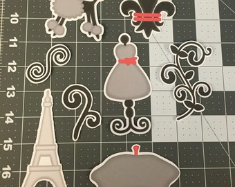 Scrapbooking Die Cuts- Parisian Theme- Paris- 8 piece set. Sizes can be adjusted upon request.
