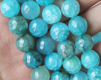 10mm Faceted, Sea Blue Agate, Rainbow Agate Beads, Rainbow Beads, Ocean Blue, Round Beads, Rainbow Agate Beads, Round Agate Beads,