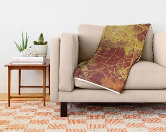 Throw blanket Brooklin 1898, Beautiful Antique map, 51x60 in, 68x80 in or 88x104 in. Really soft throw blanket. Gift for men