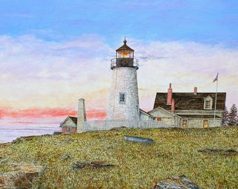 Lighthouse Painting - Maine Painting - Ocean Art - Landscape Painting - Sea Painting - White Lighthouse - Dawn Painting - Matted Print