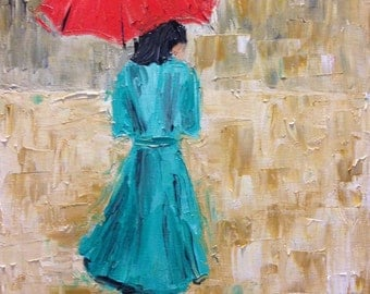 Woman in Rain, Original 11x14 Oil Painting on Canvas