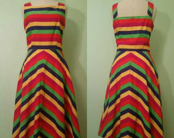 Vtg 50's Style Candyland Swing Dress with Pockets • Size 12