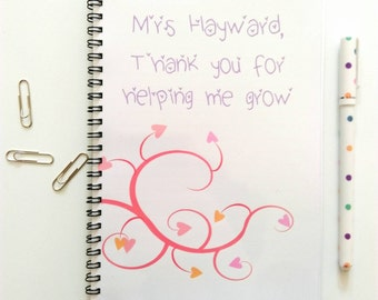 Personalised Pretty Teacher's Notebook - Thank you for helping me grow